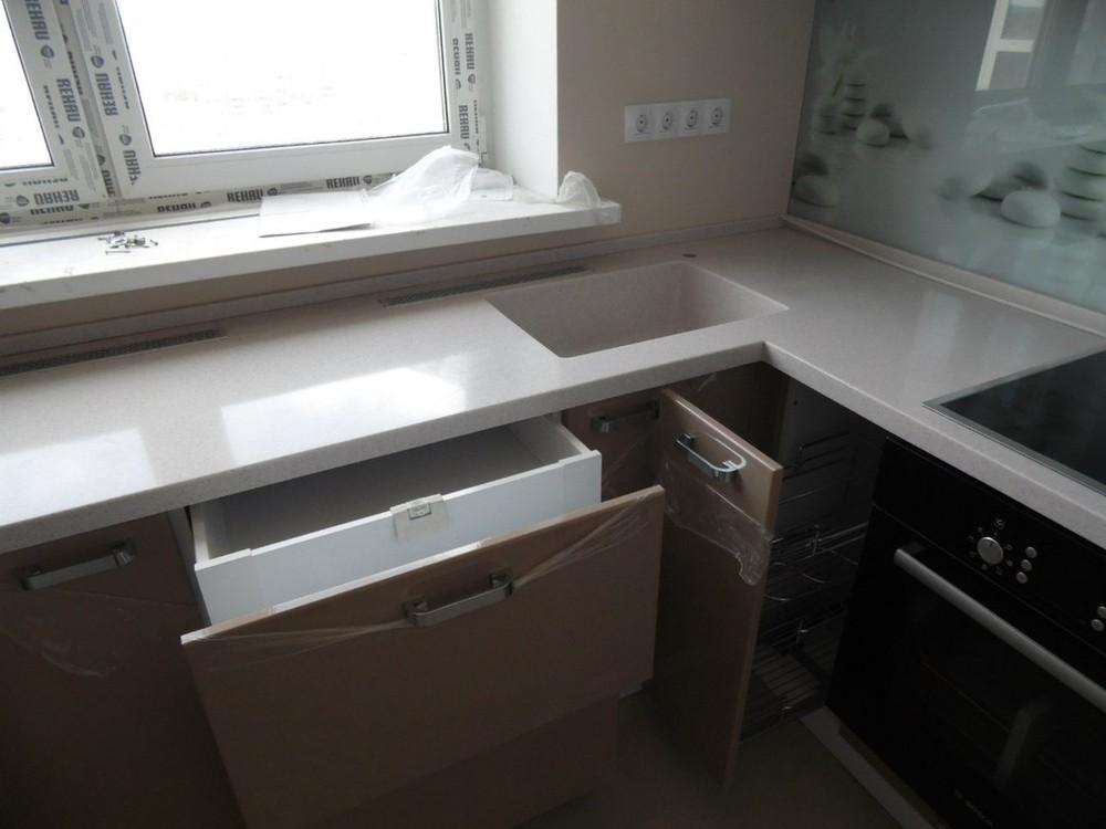 Белый кухонный гарнитур-Кухня МДФ в эмали «Модель 199»-фото4