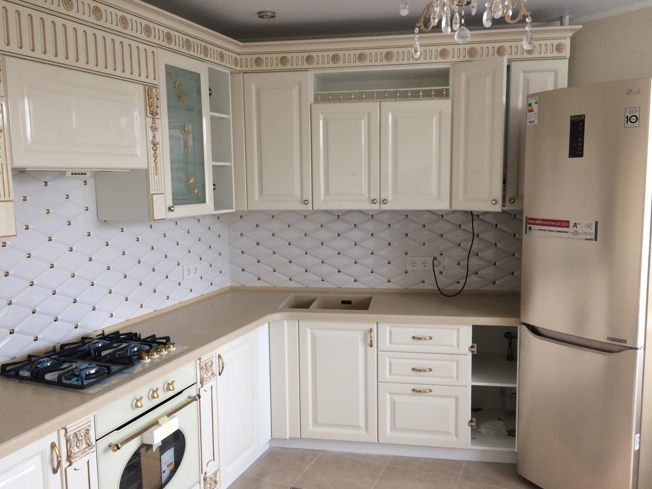 Белый кухонный гарнитур-Кухня МДФ в ПВХ «Модель 11»-фото3