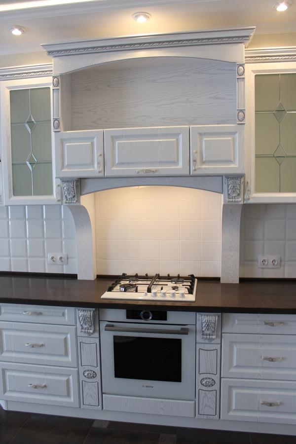 Белый кухонный гарнитур-Кухня из шпона «Модель 43»-фото3