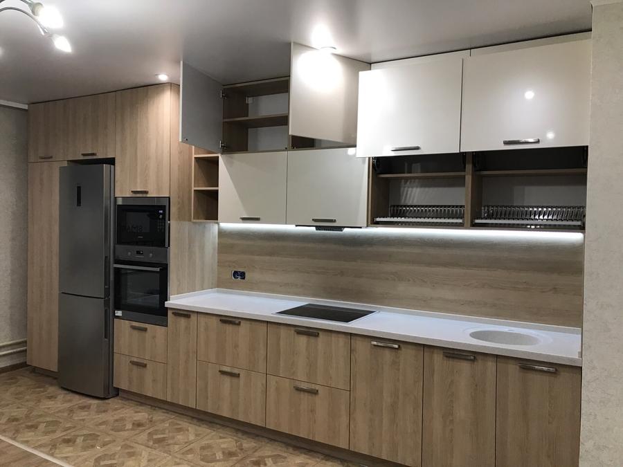Белый кухонный гарнитур-Кухня МДФ в ПВХ «Модель 67»-фото3