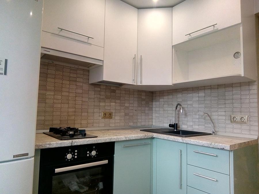 Белый кухонный гарнитур-Кухня МДФ в ПВХ «Модель 125»-фото1