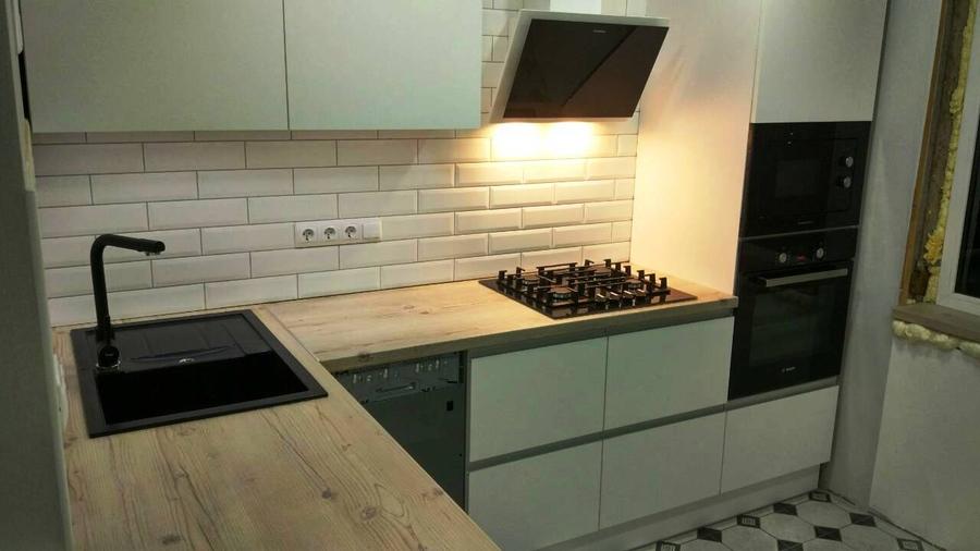 Белый кухонный гарнитур-Кухня из пластика «Модель 198»-фото4