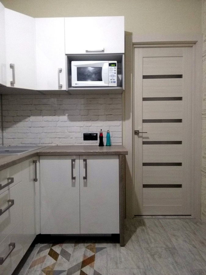 Белый кухонный гарнитур-Кухня из пластика «Модель 334»-фото4