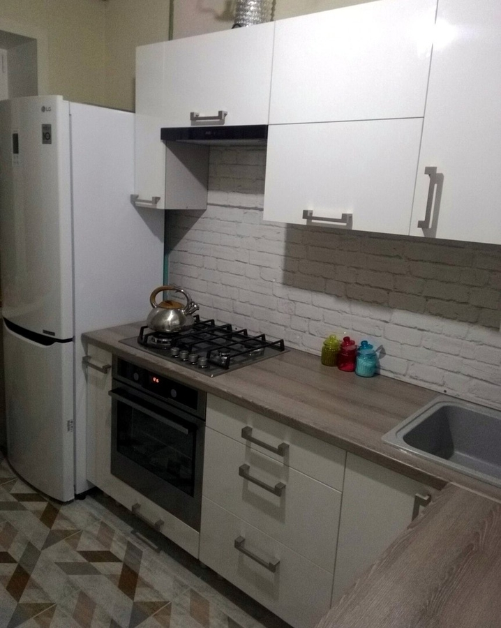 Белый кухонный гарнитур-Кухня из пластика «Модель 334»-фото1