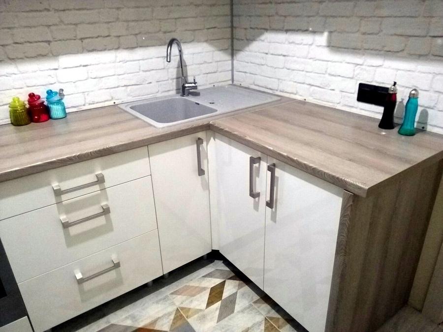 Белый кухонный гарнитур-Кухня из пластика «Модель 334»-фото5