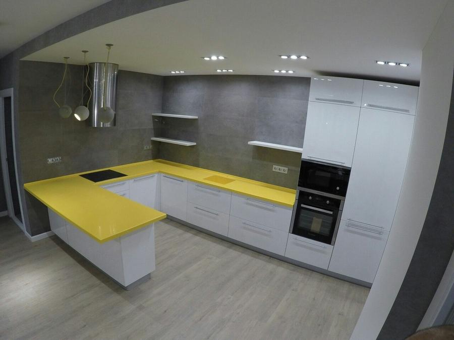 Белый кухонный гарнитур-Кухня из пластика «Модель 440»-фото1