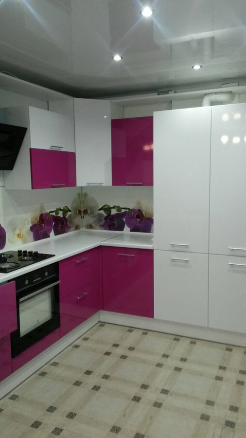 Белый кухонный гарнитур-Кухня из пластика «Модель 395»-фото3