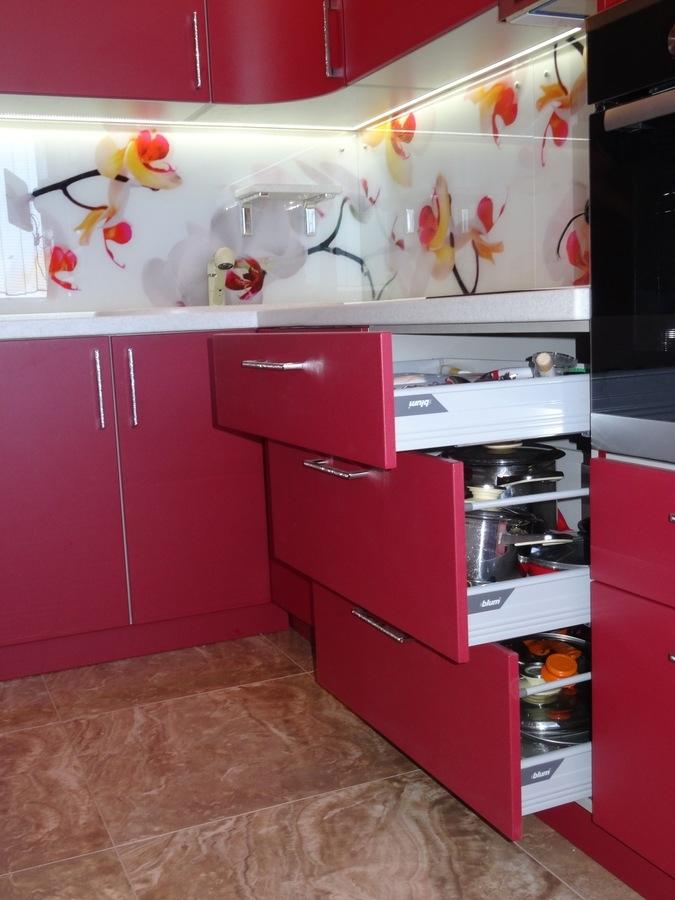 Купить красную кухню-Кухня МДФ в ПВХ «Модель 486»-фото4