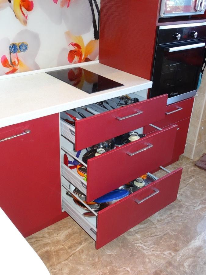 Купить красную кухню-Кухня МДФ в ПВХ «Модель 486»-фото5