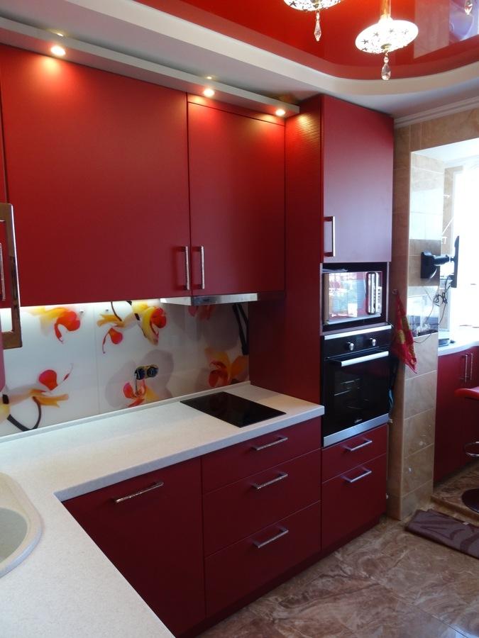 Купить красную кухню-Кухня МДФ в ПВХ «Модель 486»-фото2