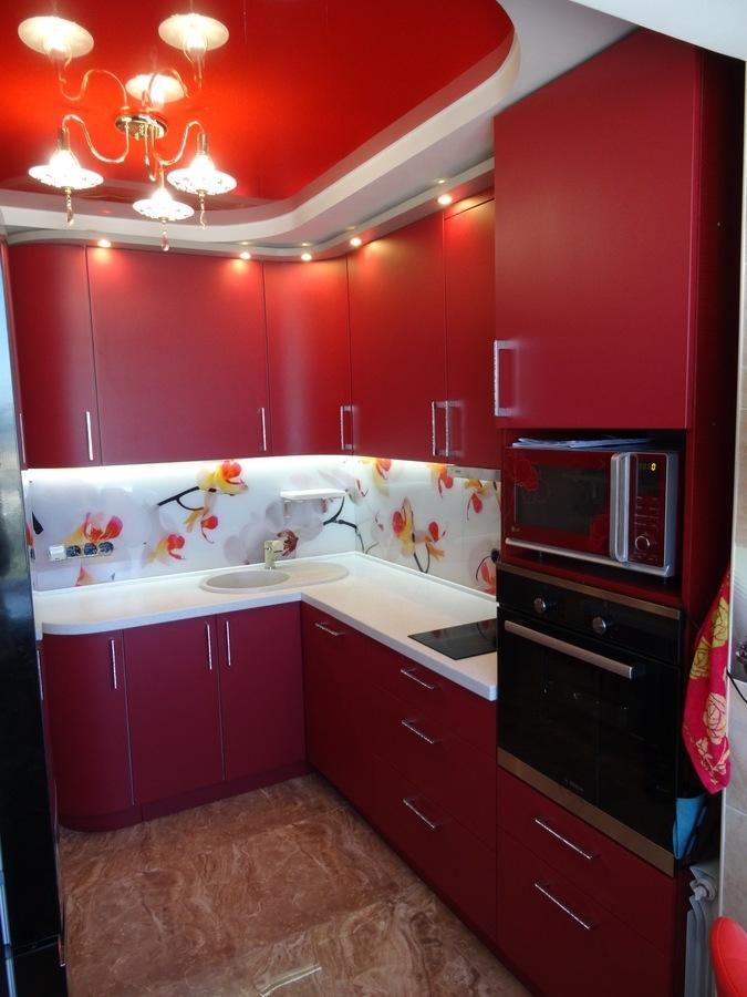 Купить красную кухню-Кухня МДФ в ПВХ «Модель 486»-фото1