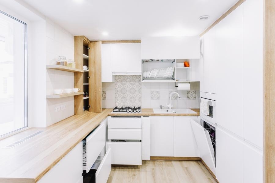 Белый кухонный гарнитур-Кухня МДФ в эмали «Модель 404»-фото6