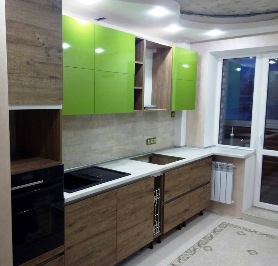 Встроенная кухня-Кухня из пластика «Модель 379»-фото1