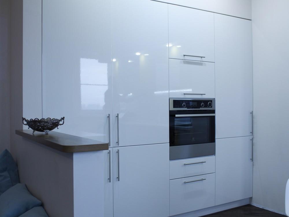 Встроенная кухня-Кухня МДФ в эмали «Модель 200»-фото2