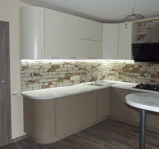 Белый кухонный гарнитур-Кухня из пластика «Модель 399»-фото4