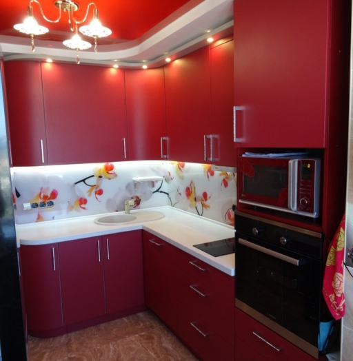 Купить красную кухню-Кухня МДФ в ПВХ «Модель 486»-фото6