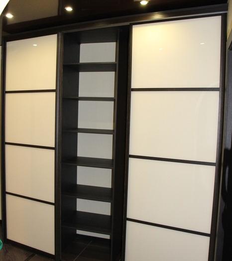 Белые шкафы-купе-Шкаф-купе из стекла Лакобель «Модель 12»-фото4